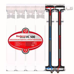 Схема движения теплоносителя в радиаторе - Radena VC 500